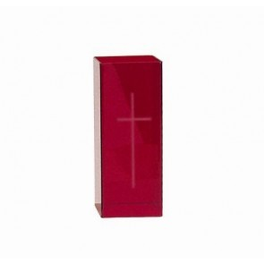 "SQ. PLASTIC RUBY CANDLE HOLDER 4""x10""x4"""
