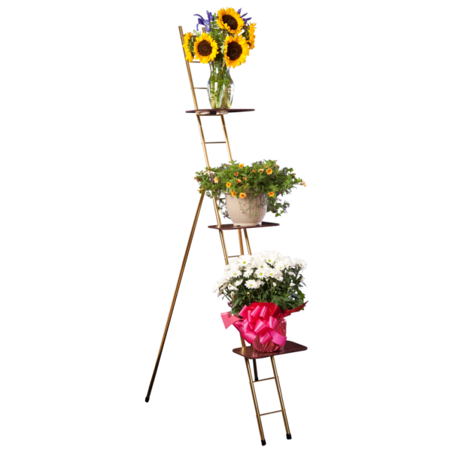 flower ladder rack 75 w 3 shelves flower stands funeral equipment funeral home. Black Bedroom Furniture Sets. Home Design Ideas
