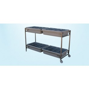 FLOWER CART,2 LEVELS w/4 REMOVABLE TRAYS