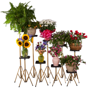 "FLOWER STAND/SET OF 9 w/8"" BLK MELMAC"