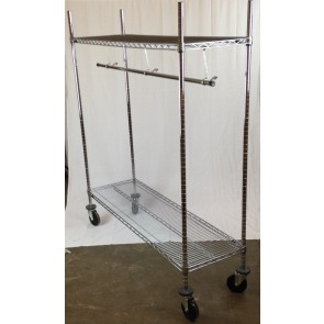 "COAT RACK,CHROME w/5""CASTERS,18""x36"""
