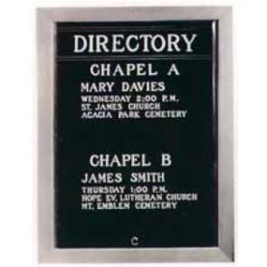 W/M DIRECTORY/CHR.FRAMEw/GLASS DOOR