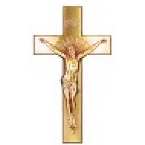 "16"" EXT. CRUCIFIX CURVED ANTIQUE BRASS"