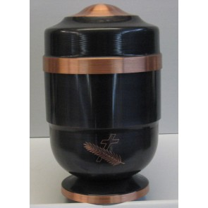 ALUMINIUM  COPPER URN WITH A CROSS AND LEAF